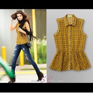 Plaid Sleeveless Shirt | Selena Gomez collection